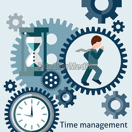 time management flat concept with running