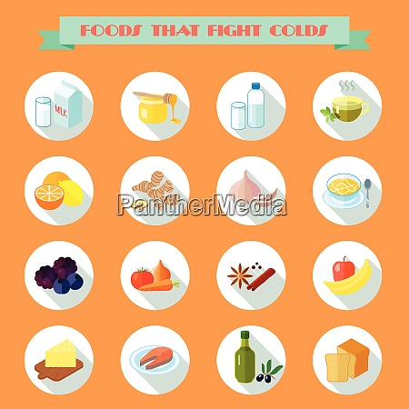food that fights cold flat icons