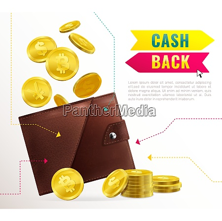 colored realistic wallet poster with cash