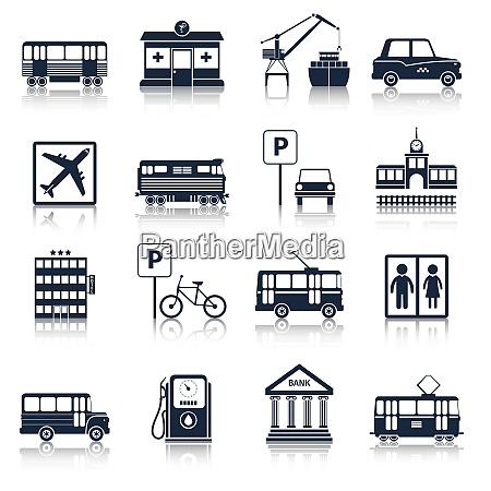 stadt, infrastruktur, symbole, schwarz, set, mit - 27146142