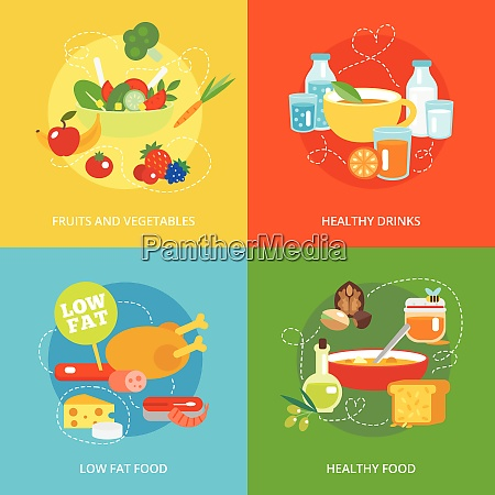healthy eating flat icons set with