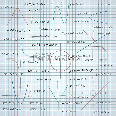 mathematische diagramme und formeln papier hintergrundvektor