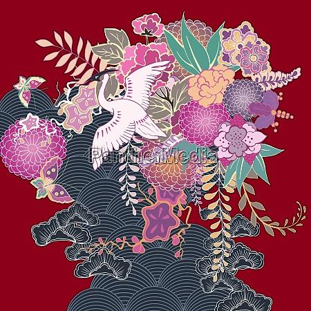 orientalische vintage kimono floral motiv vektor