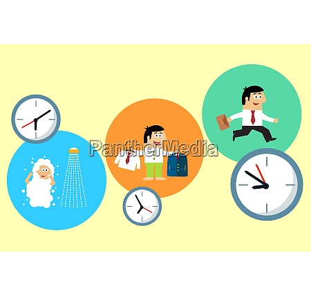 menschen cartoon arbeit arbeitstag zeitplan dawn