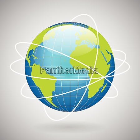 earth globe icon with global technology