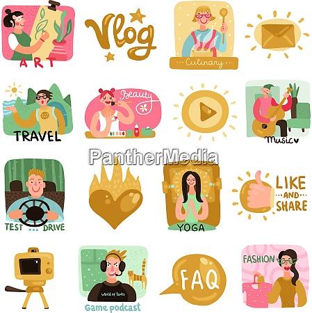 video blogger symbole mit schoenheit kulinarischen
