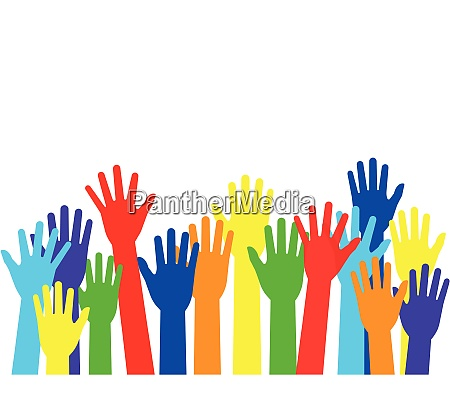 vector illustration raised colorful hands isolated