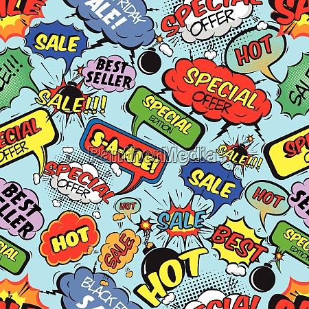 pop art comic verkauf nahtlose muster