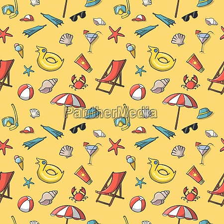 seamless summer vacation travel pattern background