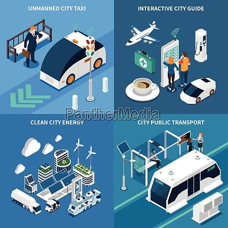 smart city isometric concept icons set