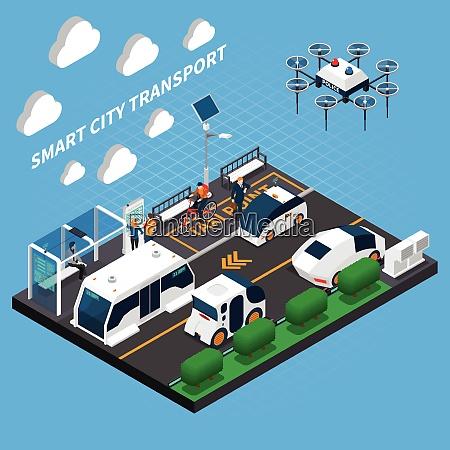 smart city isometrisches konzept mit transport