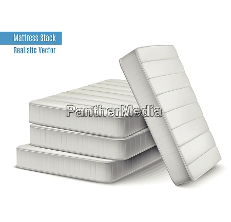 mattress stack realistic composition with pile