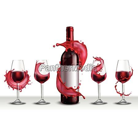 wine splash realistic set with bottle