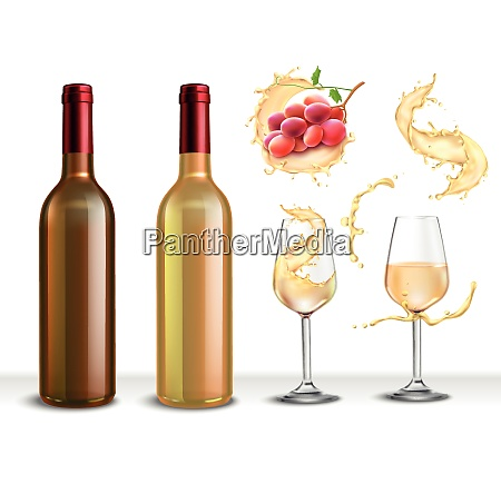 wine splash realistic collection of isolated