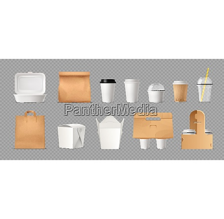 fast food package transparent set with