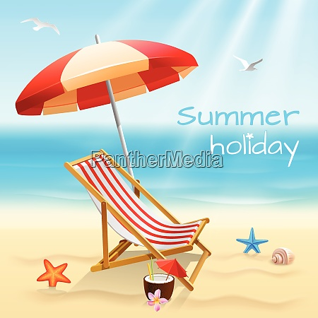 summer holidays beach background poster with
