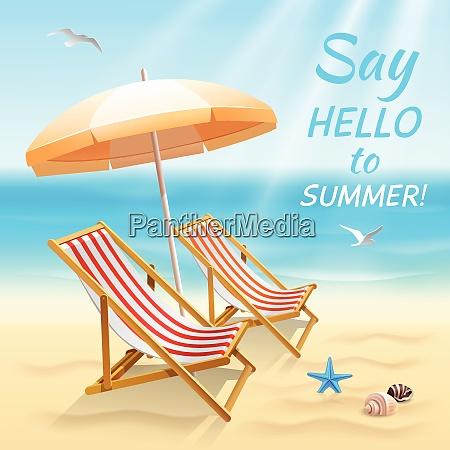 summer holidays beach background say hello