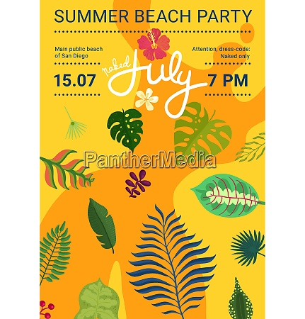 summer beach party poster with leaves