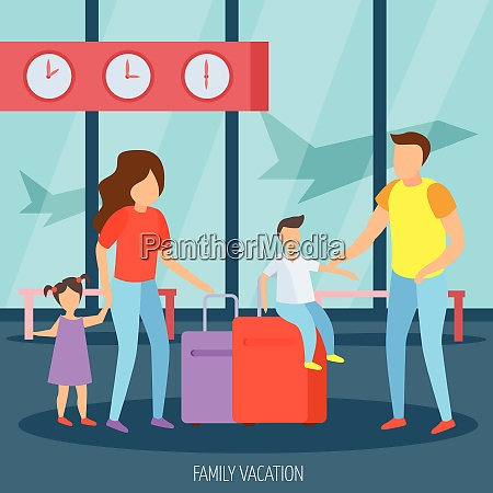 family vacation travel orthogonal background poster