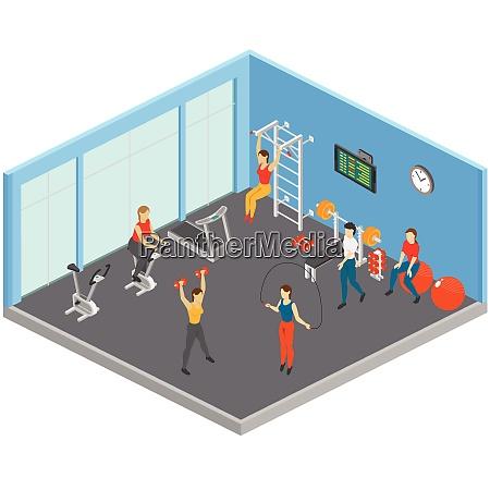 fitness isometrische zusammensetzung mit sport UEbungsraum
