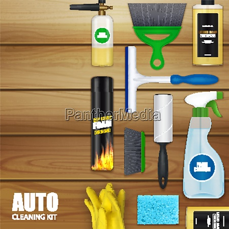 auto cleaning realistic set with liquid