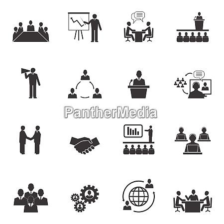 business leute online meeting strategische piktogramme