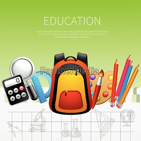 education realistic poster vector illustration with