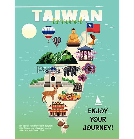 taiwan travel country cultural map flat