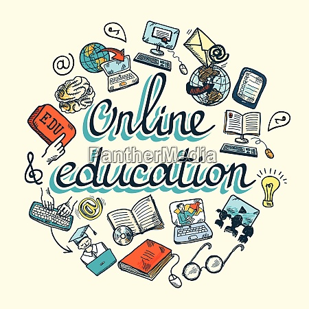 online bildung e learning wissenschaft skizzenkonzept