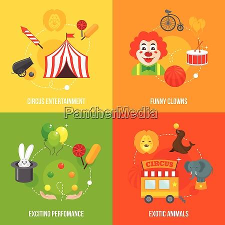 vier retro reise zirkus lustige clown