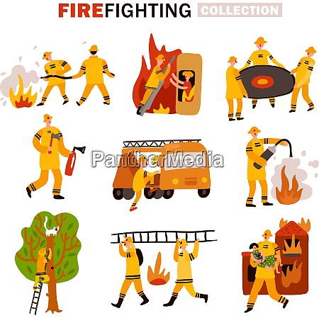 set of flat icons rescue service