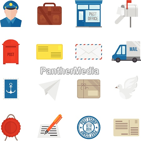 post service symbol flachset mit lieferkurier