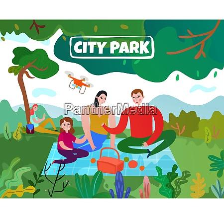 stadtpark, mit, bäumen, rasen, eltern, und - 27155934