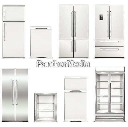refrigerator fridge realistic set of isolated