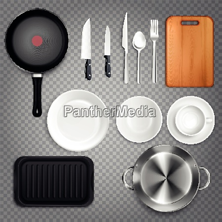 kitchen utensils realistic set top view