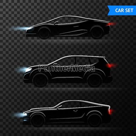 three realistic car dark transparent icon