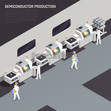 ssemiconductor chip produktion isometrische zusammensetzung mit