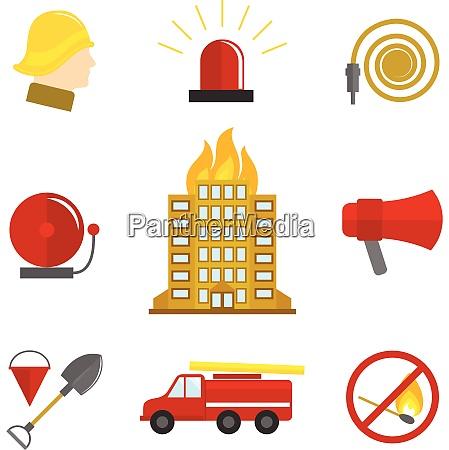 firefighting icons flat set of burning