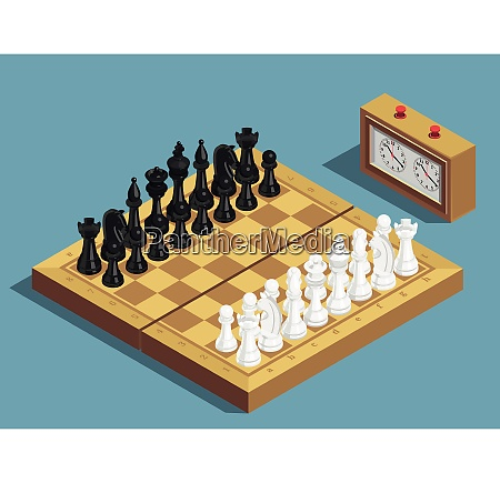 chess game beginning isometric composition with