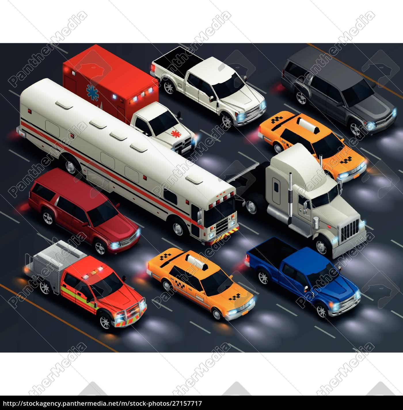 straßenverkehr, realistische, isometrische, transportzusammensetzung, mit, bus - 27157717