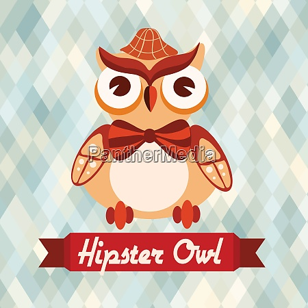 hipster owl with hat and bow