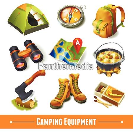 camping sommer outdoor aktivitaet ausruestung dekorative