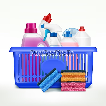 detergent bottles in basket composition with