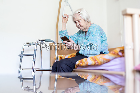 elderly 96 years old woman reading