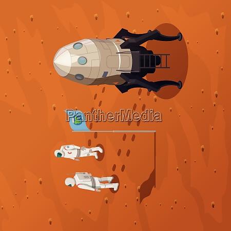mars exploration design konzept mit zwei