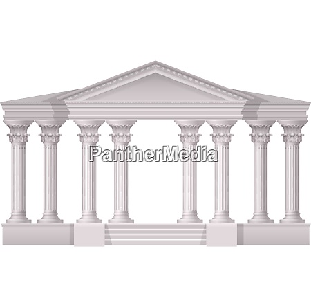 realistic antique white columns realistic composition