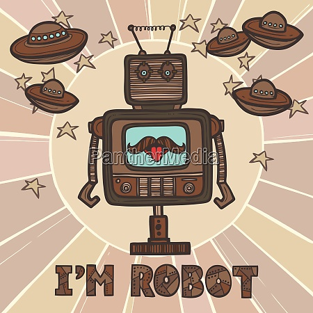 funky roboter hipster retro humanoid mit