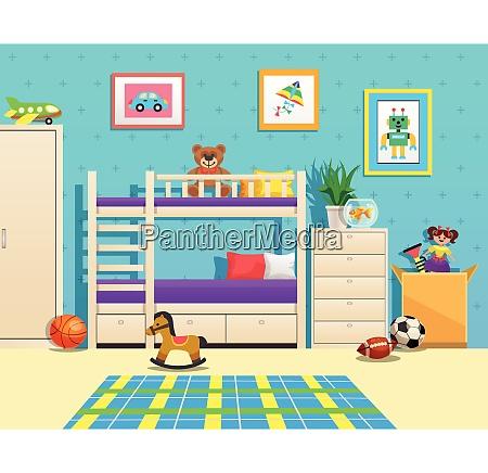 ordentlich kinderzimmer innen mit etagenbett bilder