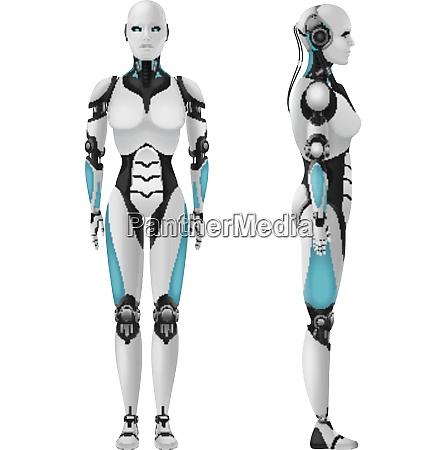 roboter android weibliche realistische 3d komposition