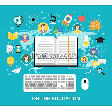 online bildung e learning wissenschaftskonzept mit